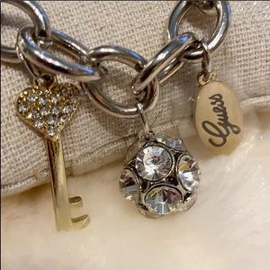 NWT Guess Silver/Gold Charm Bracelet NEW